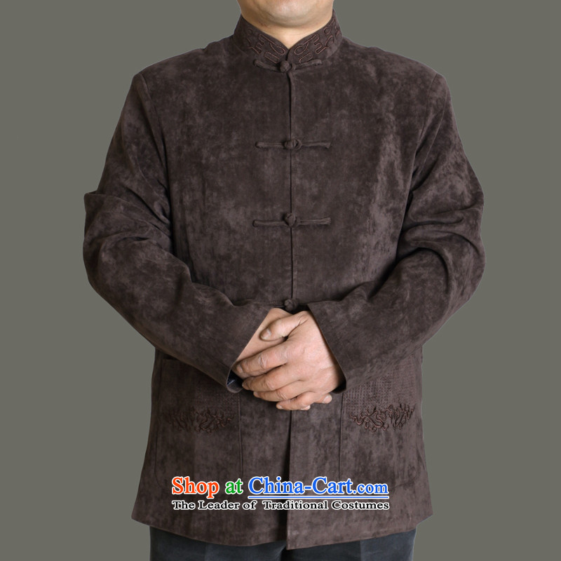 The Cave of the elderly by 2015 autumn and winter new male and Tang dynasty China wind men Tang Dynasty Chinese cotton upmarket older stylish embroidery Y726 Tang Dynasty Brown?180 codes/spring and autumn)