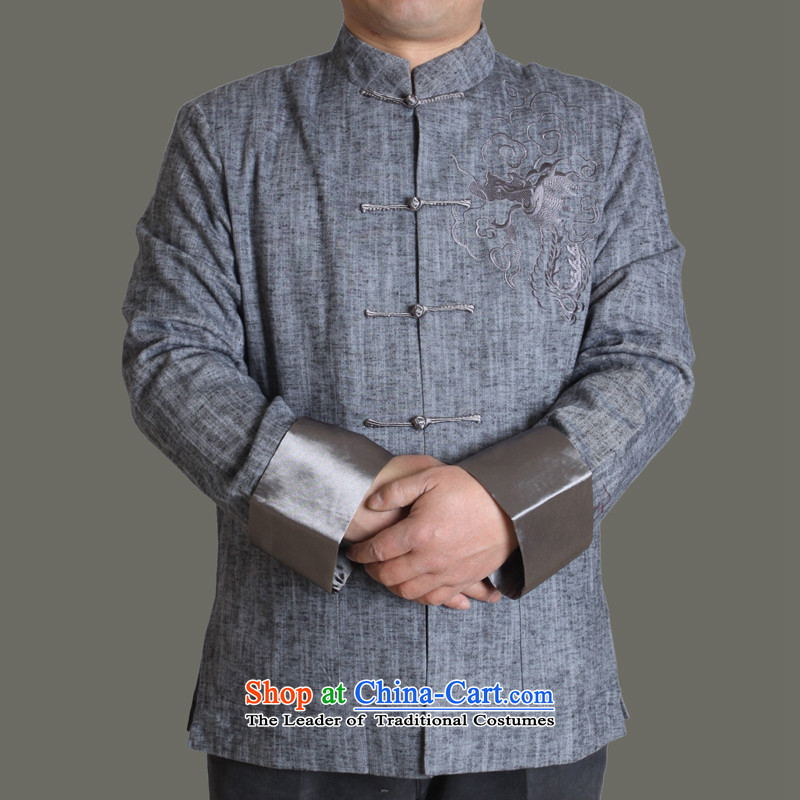 The Cave of the elderly in爏pring and autumn 2015 new upscale male cotton linen Tang dynasty embroidery in older men Tang dynasty grandpa autumn solid color jacket Y711 gray�5