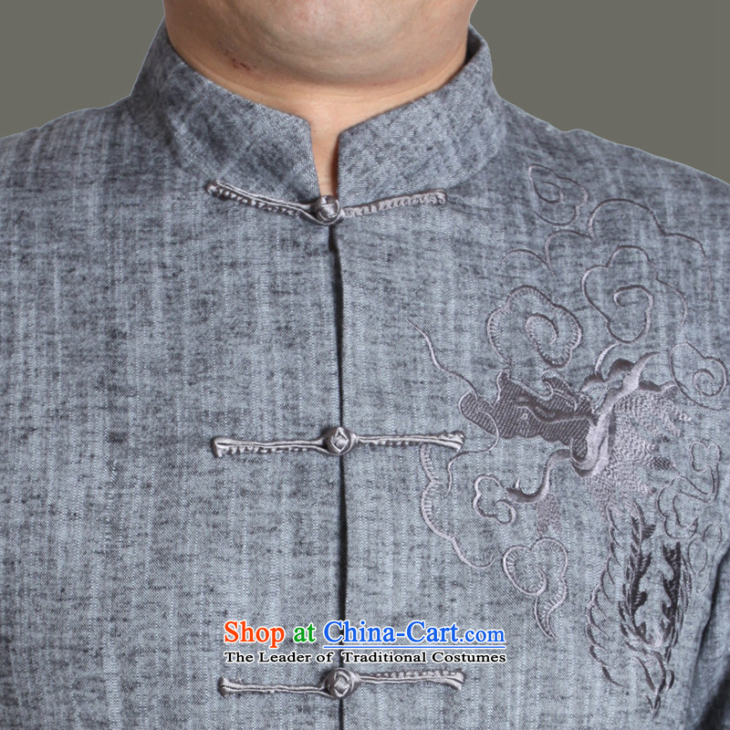 The Cave of the elderly in聽spring and autumn 2015 new upscale male cotton linen Tang dynasty embroidery in older men Tang dynasty grandpa autumn solid color jacket Y711 gray聽175 to the Cave of the elderly聽has been pressed shopping on the Internet