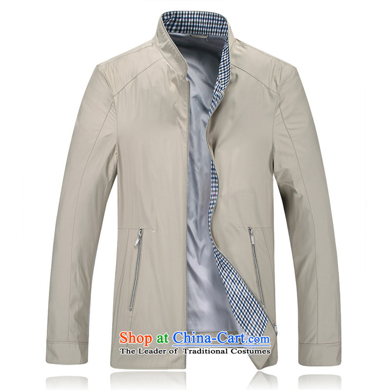 2014 Fall/Winter Collections new federal core Chai Lang business and leisure collar jacket?101501?khaki dark blue-?L