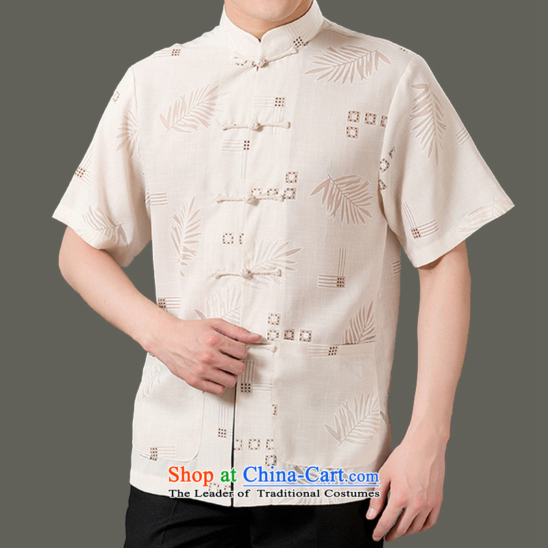 Adam and Eve elderly genuine 15 summer new cotton linen Short-Sleeve Men in elderly men stylish Sau San short-sleeved blouses Tang ethnic costumes SH1301 Chinese m Yellow聽180 code