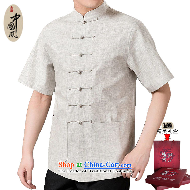 Adam and Eve 2015 Summer of elderly men cotton linen half sleeve father short-sleeved in Sau San elderly men short-sleeved Tang dynasty elderly men summer SH226 Light Gray聽170 yards