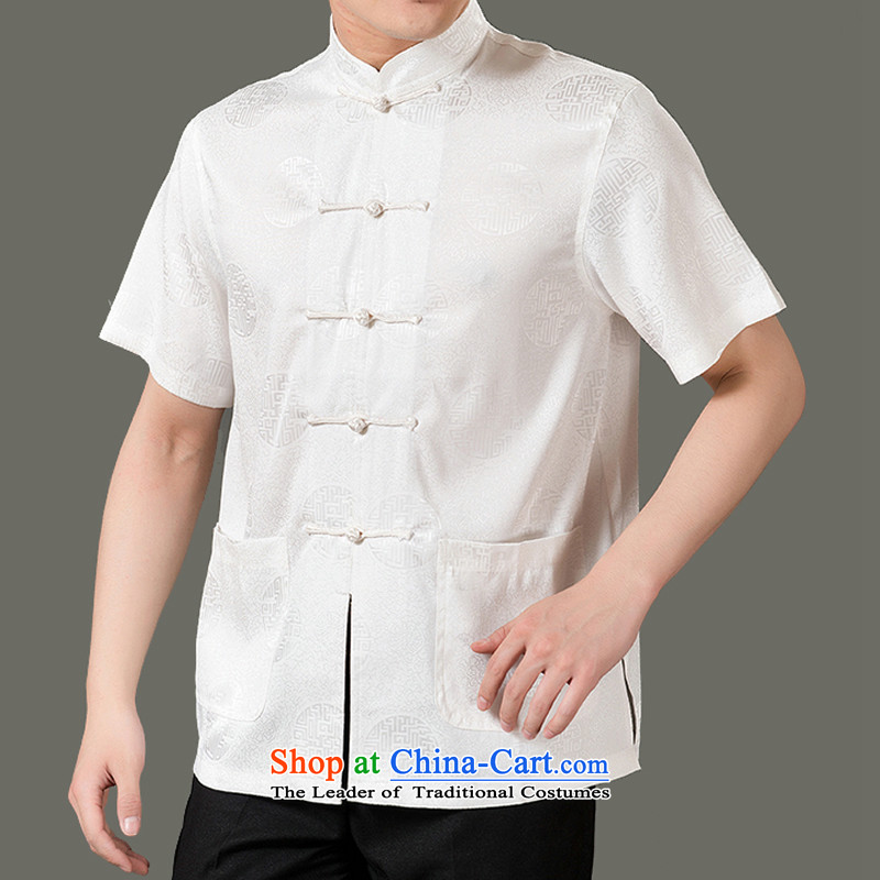 The Cave of the elderly by 2015 Summer New Tang Dynasty Han-men in older men Sau San Tong short-sleeved blouses millennium elderly men summer national costumes?2XL_180 cream-colored T-Shirt