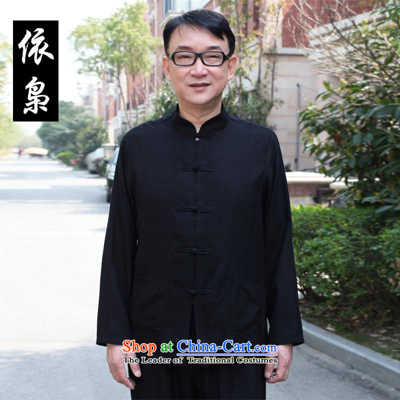 In accordance with the consultations with the new 2015 father stay long-sleeved shirt linen cotton leisure of older persons in the Tang dynasty loose shirt Father's Day Gifts black�190/4XL recommended weight 190-210 catty