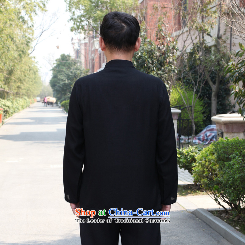 In accordance with the consultations with the new 2015 father stay long-sleeved shirt linen cotton leisure of older persons in the Tang dynasty loose shirt Father's Day Gifts black聽190/4XL recommended weight in accordance with the consultations that 190-2