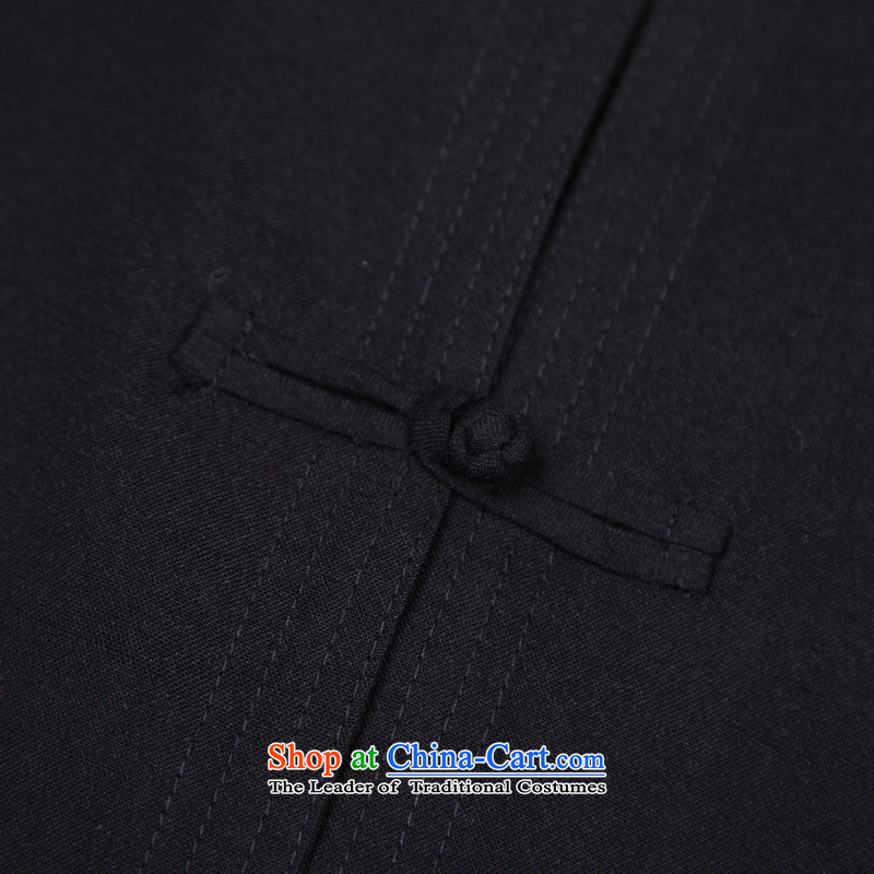 In accordance with the consultations with the new 2015 father stay long-sleeved shirt linen cotton leisure of older persons in the Tang dynasty loose shirt Father's Day Gifts black190/4XL recommended weight in accordance with the consultations that 190-2