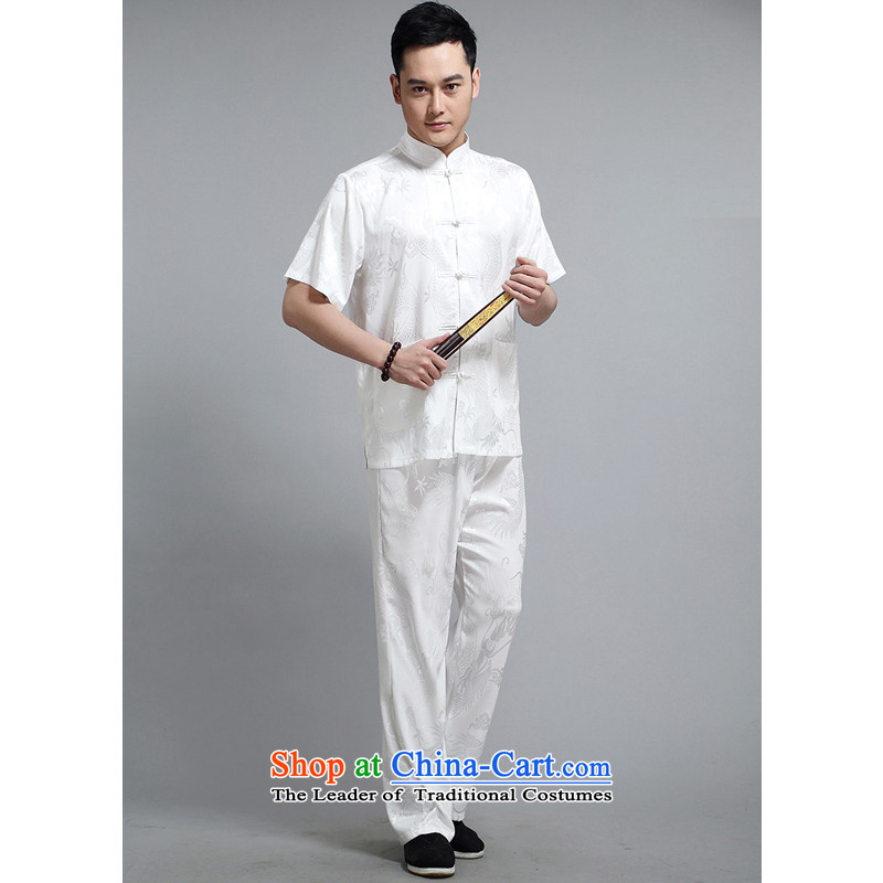 The Rafael Hui caytan replacing men short-sleeved Tang dynasty short-sleeved T-shirt/Bundle Ssangyong thrive in Tang Dynasty festive older men DS228 Tang dynasty white 175/Kit