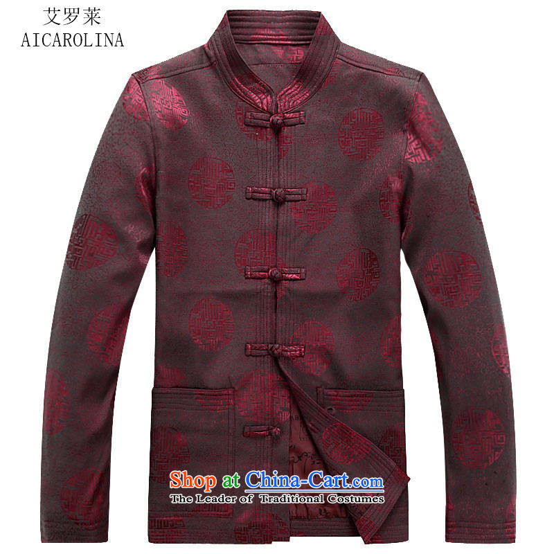 Hiv Rollet autumn and winter in the new elderly men Tang Gown of older persons for autumn and winter men's jackets�L/175 red T-Shirt