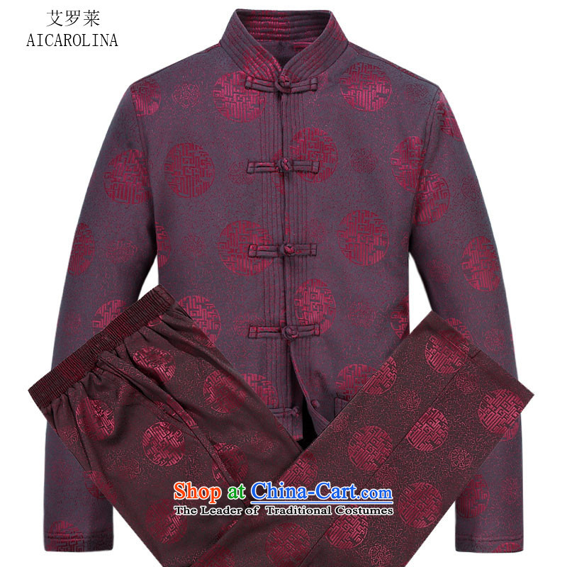 Hiv Rollet men Tang dynasty autumn and winter new liberal version leisure long-sleeved cotton Tang Dynasty Package Male Red Kit聽XL