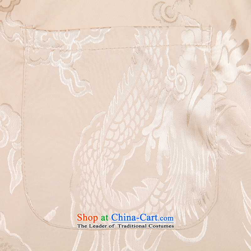 In accordance with the consultations with the spring and summer of 2015, Tang dynasty father long-sleeved home China wind dragon design in T-shirt older men's shirts father Father's Day rice white聽170/L load recommendations 100-130, in accordance with the