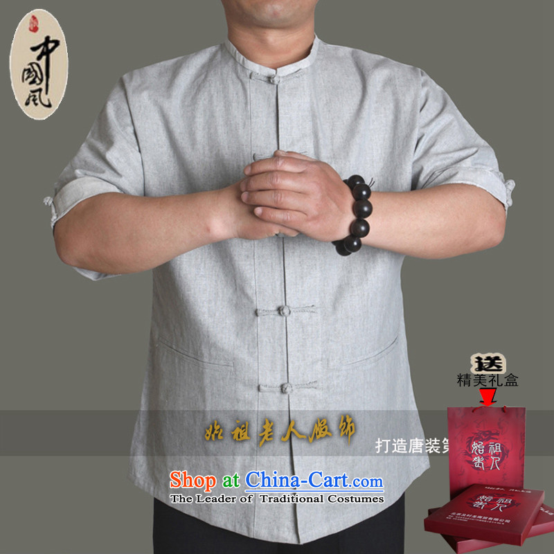15 The new improved upscale male short-sleeved blouses Tang cotton linen china wind without collars leisure half sleeve male round-neck collar older summer Y0953Y Light Gray?180_ Single T-shirts are