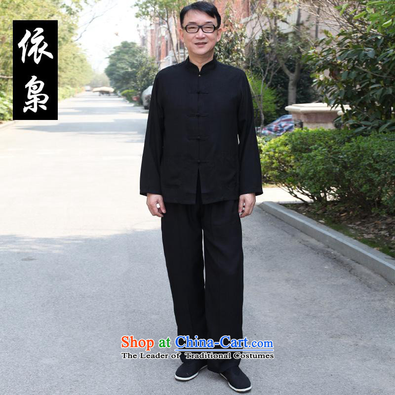 In accordance with the consultations with father cotton linen package China wind in older men long-sleeved spring and summer casual shirts in Tang Dynasty men Father's Day men gift black�5_XL recommendations usually it will burden the weight