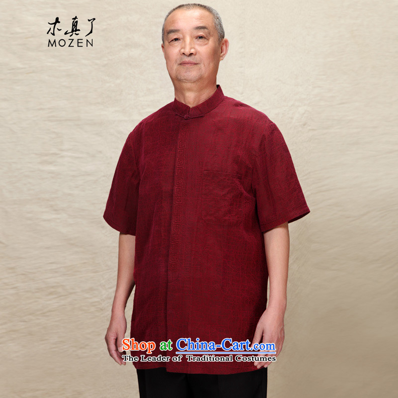 Wood of 2015 Summer really new and old age are Tang blouses silk-men father load�116.1 04 deep red�M