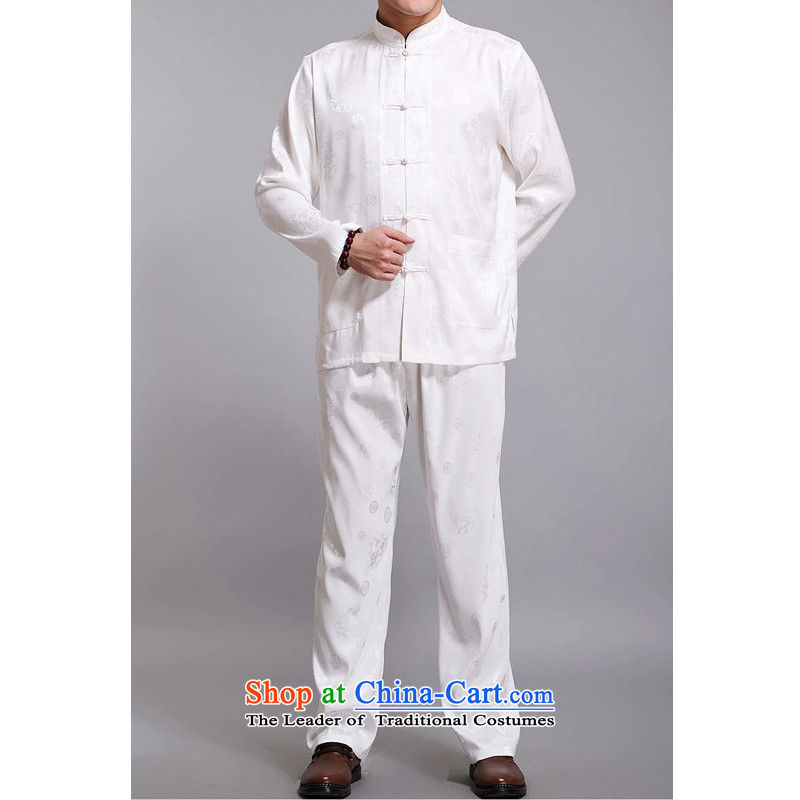 The Rafael Hui Kai earned popularity in爏pring and autumn 2015 New Tang dynasty in long-sleeved older men Tang dynasty jacquard round lung Chinese men and Tang dynasty D219�0_ White Kit