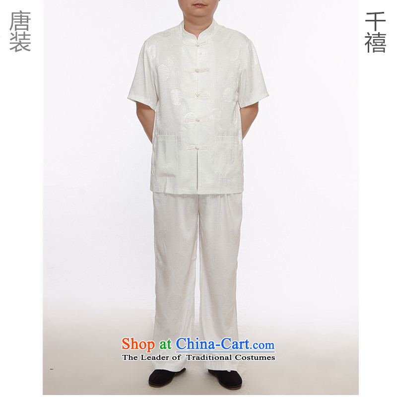 Tang Dynasty Package Tang dynasty China wind men's national service package for older short-sleeve packaged products m White Tang dynasty XXXL180