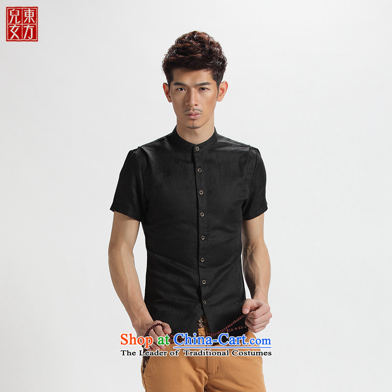 The sons and daughters of the oriental 2014 short-sleeved men casual youth Tang dynasty China wind male and Han-hyun black shirt summer Chinese tunic jacquard�180(2XL)
