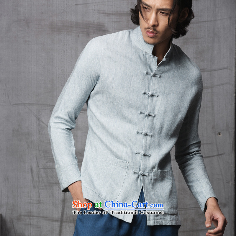 Seventy-tang China wind men during the spring and autumn stylish Tang imported silk fabrics and linen Original Design Chinese collar disc clip high-end national dress jacket 1515 cowboy light blue?L