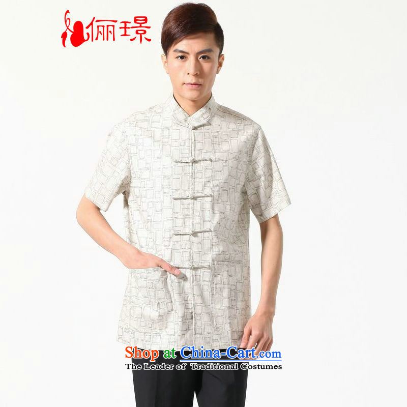 158 Jing in Tang Dynasty older men and summer cotton linen collar Tang dynasty China wind men short-sleeved larger men N0054 White M recommendations 100-120 catties)