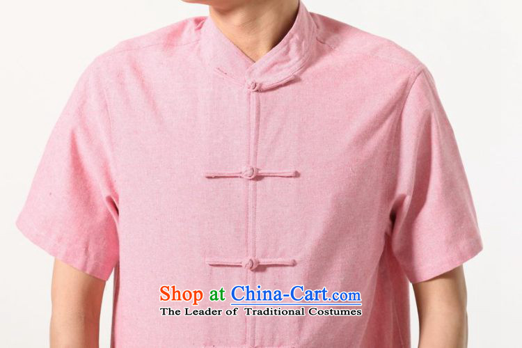 158 Jing summer new short-sleeved Tang Dynasty Chinese Improved large Chinese tunic of Men's Mock-Neck embroidered cotton linen Tang dynasty M0053 shirt color picture XXXL( recommendations 180-210 catty picture, prices, brand platters! The elections are supplied in the national character of distribution, so action, buy now enjoy more preferential! As soon as possible.