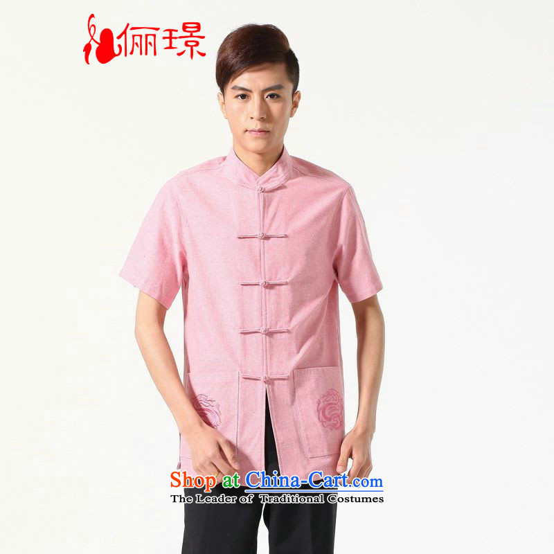 158 Jing summer new short-sleeved Tang Dynasty Chinese Improved large Chinese tunic of Men's Mock-Neck embroidered cotton linen Tang dynasty M0053 shirt color picture XXXL( recommendations 180-210 catty