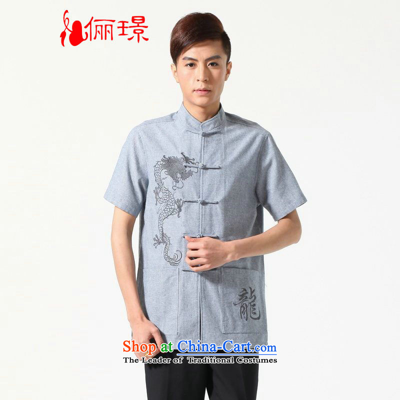158 Jing summer new short-sleeved Tang Dynasty Chinese Improved large Chinese tunic of Men's Mock-Neck embroidered cotton linen Tang dynasty shirt?M0052?light gray?XL( recommendations appears at paragraphs 145-155 catties)