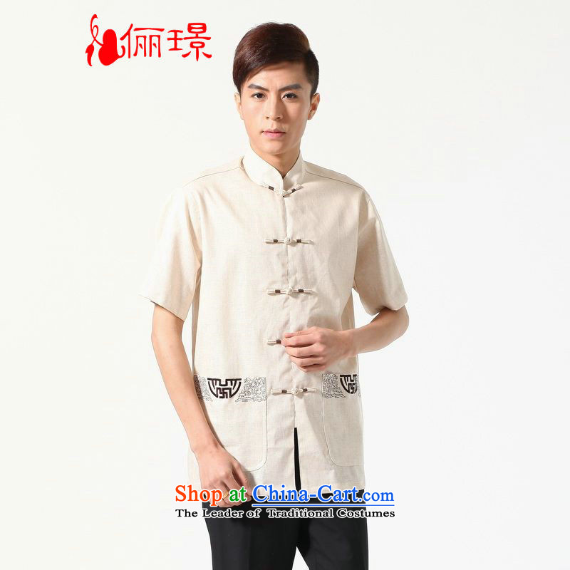 158 Jing summer new short-sleeved Tang Dynasty Chinese Improved large Chinese tunic of Men's Mock-Neck embroidered cotton linen Tang dynasty?M0051 shirt,?beige?M recommendations 100-120 catties)