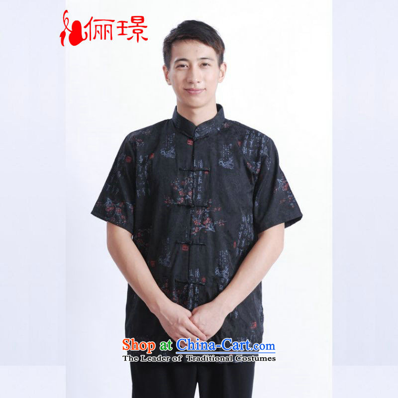 158 Jing in Tang Dynasty older men and summer collar cotton stamp Tang dynasty China wind men large short-sleeved black 3XL( M0022 men recommendations 180-210 catty)