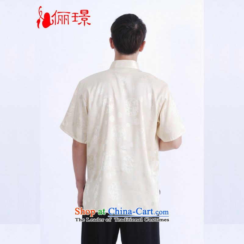 158 Jing in Tang Dynasty older men and summer Mock-neck damask Tang dynasty men short-sleeved larger men Chinese tunic women had the T-shirt, beige XXL( M0017 160-175 recommended) 158 Jing.... catty shopping on the Internet