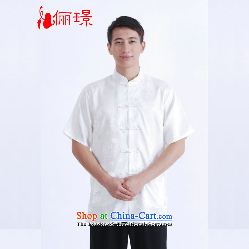 158 Jing in Tang Dynasty older men and summer collar Tang dynasty China wind men short-sleeved larger men聽M0015聽White聽M recommendations 100-120 catties_