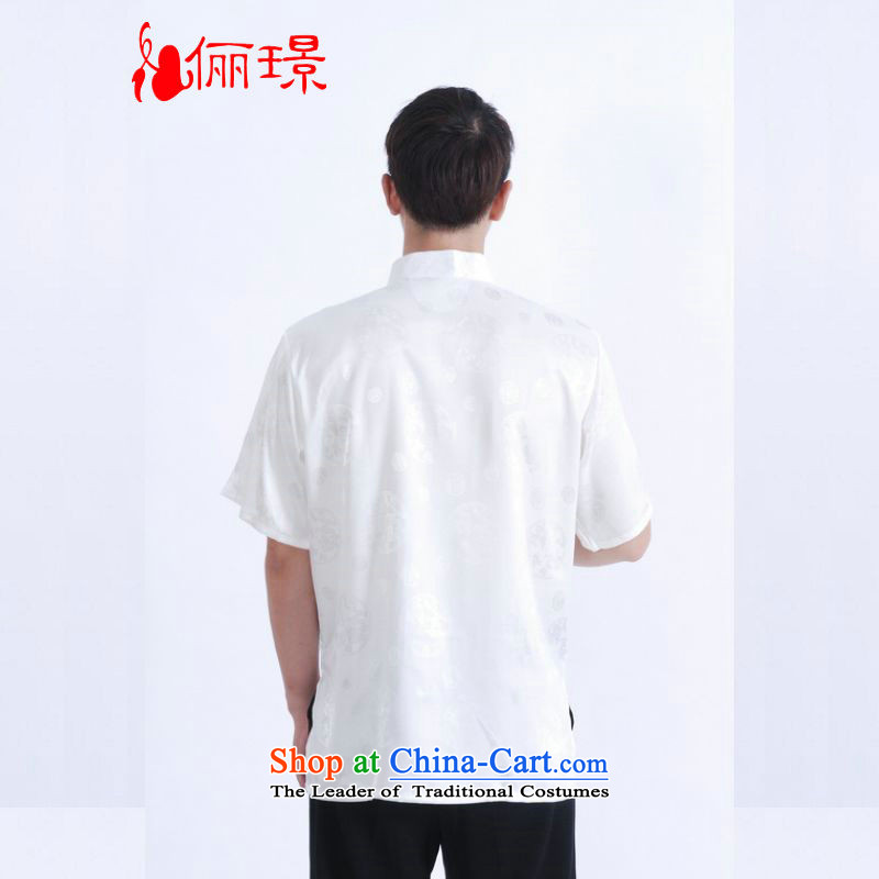 158 Jing in Tang Dynasty older men and summer collar Tang dynasty China wind men short-sleeved larger men聽M0015聽White聽M recommendations 100-120) 158 Jing.... catty shopping on the Internet