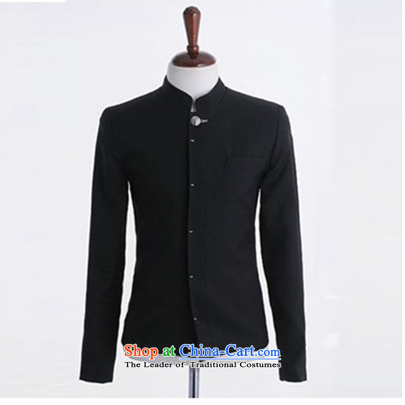 Dan Jie Shi聽2015 new Korean men Street Chinese tunic preppy men Sau San Tong-men and thick jacket coat thickness of the material to be Black _L__
