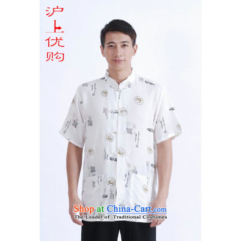 Shanghai, optimization options in Tang Dynasty older men and summer Chinese improved Ma Tang dynasty men's large short-sleeved white men聽L