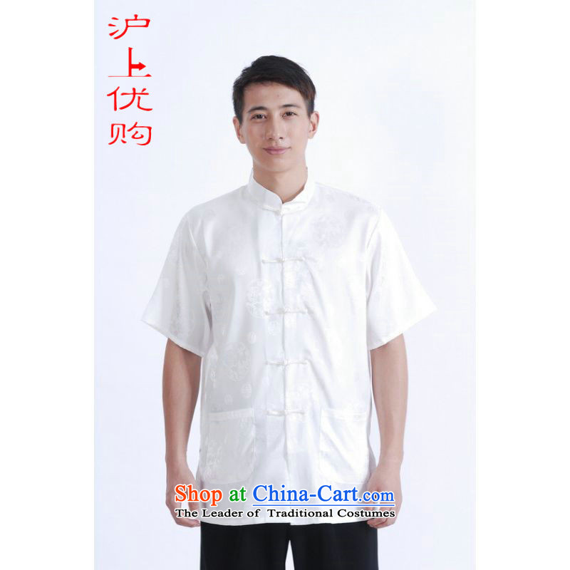 Shanghai, optimization options in Tang Dynasty older men and summer chinese women had improved the Tang dynasty men's large short-sleeved white men燣