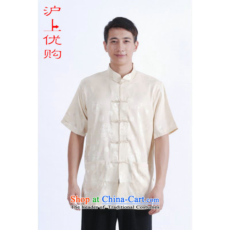 Shanghai, optimization options in Tang Dynasty older men and summer chinese women had improved the Tang dynasty short men's large short-sleeved men beige聽XXL recommendations 160-175 catty