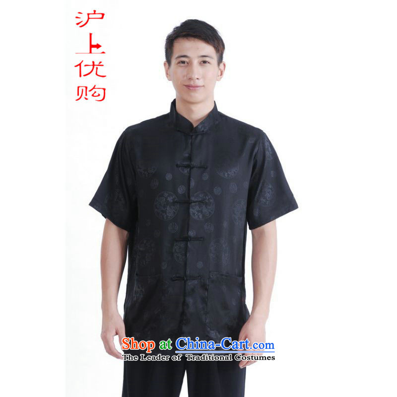 Shanghai, optimization options in Tang Dynasty older men and summer Chinese Tang dynasty improved men's large short-sleeved black men聽XXL