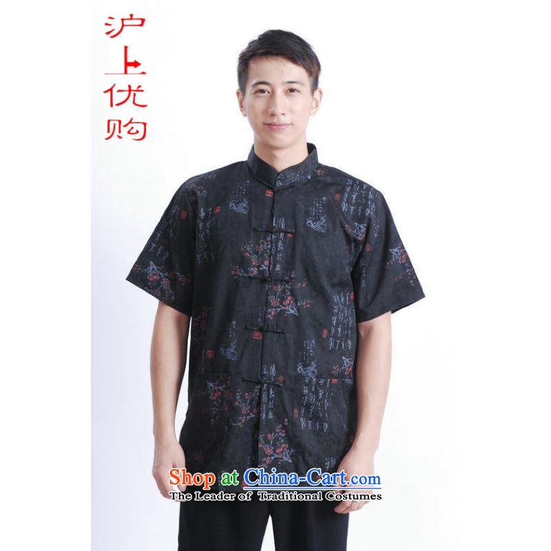 Shanghai, optimization options in Tang Dynasty older men and summer Chinese Tang dynasty improved men's large short-sleeved black men聽XXL recommendations 160-175 catty