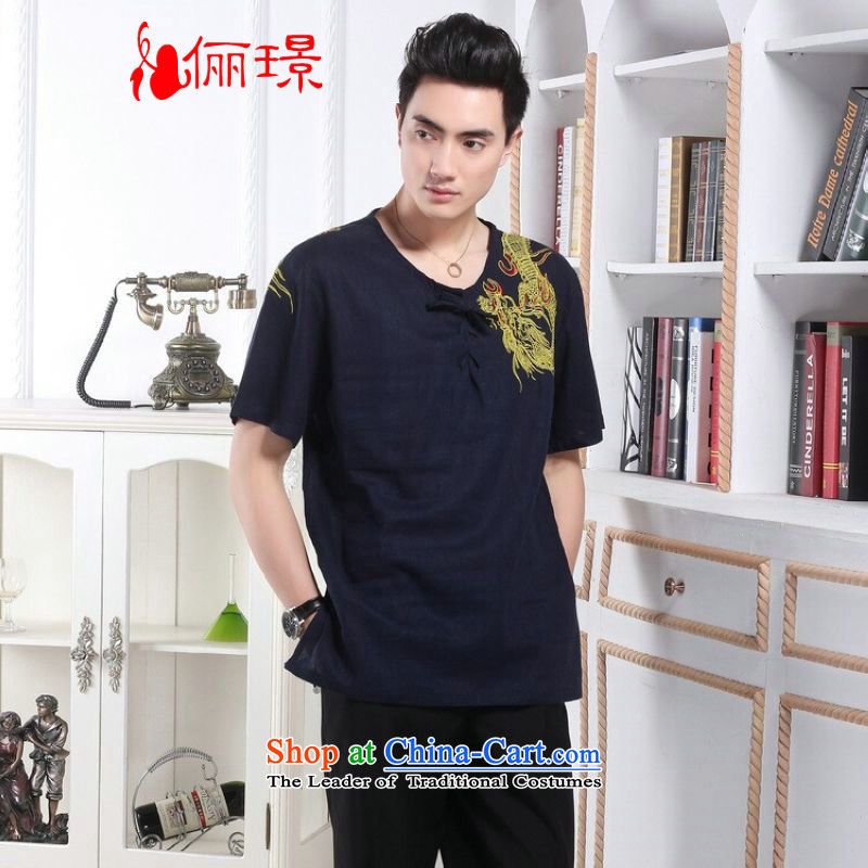 158 Jing in Tang Dynasty older men and summer round-neck collar linen embroidered Tang Dynasty Chinese dragon men short-sleeved larger men 239.7 - 1 color navy XL( recommendations appears at paragraphs 145-155 catties)