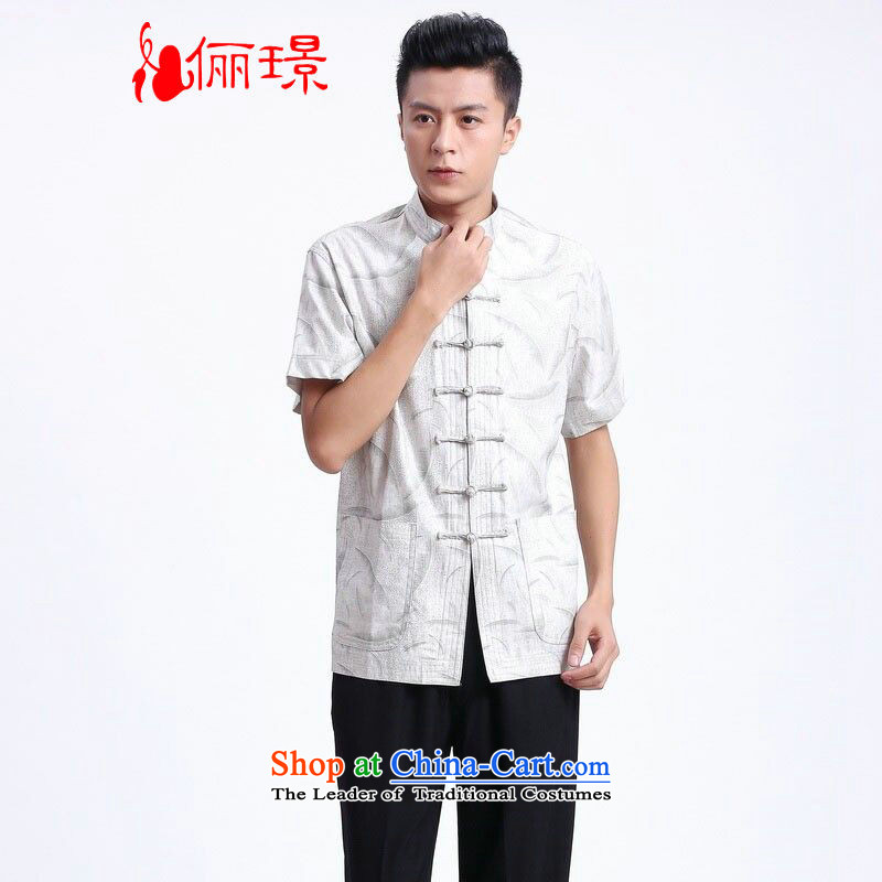 158 Jing in Tang Dynasty older men and summer linen collar Tang dynasty China wind men short-sleeved larger men?2372 - 2 white?XXXL( recommendations 180-210 catty