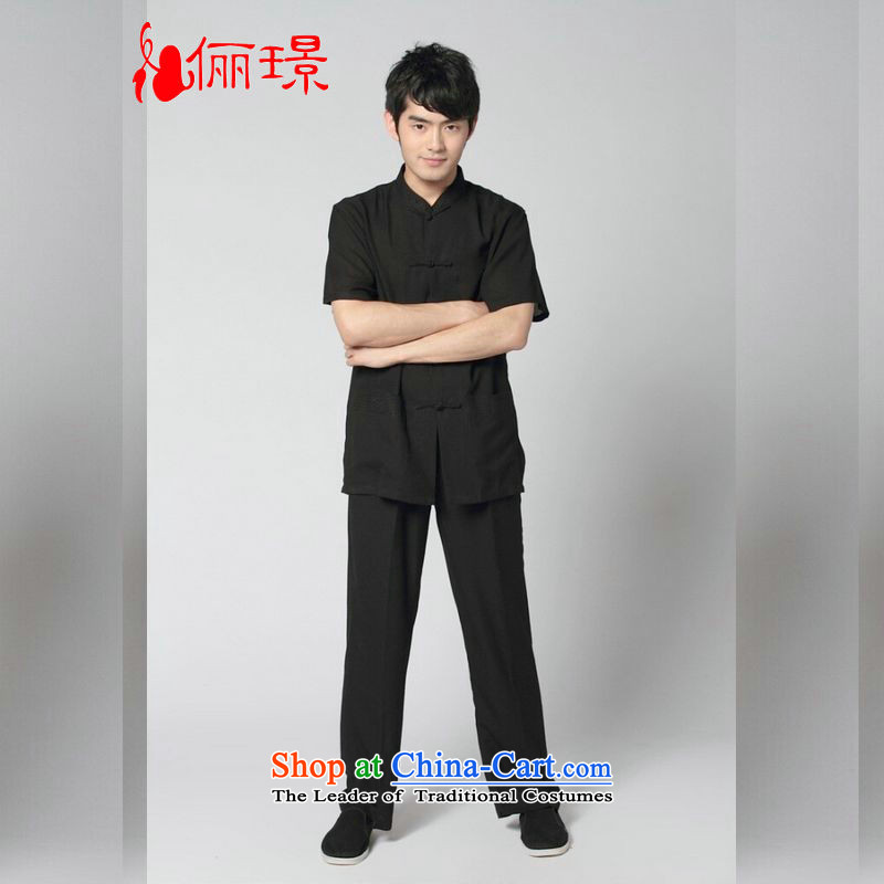 158 Jing in Tang Dynasty older men and summer cotton linen collar Chinese Tang dynasty improved men short-sleeve kit for larger men's kung fu Kit?- 13 black?XXL( recommendations 160-175 catties)