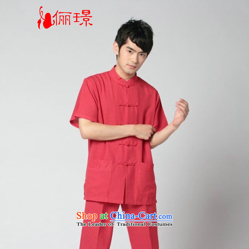 158 Jing in Tang Dynasty older men and summer cotton linen collar Tang dynasty China wind men short-sleeved larger men�2350 - 11 red T-shirt�L recommendations wine catty) paras. 125-140