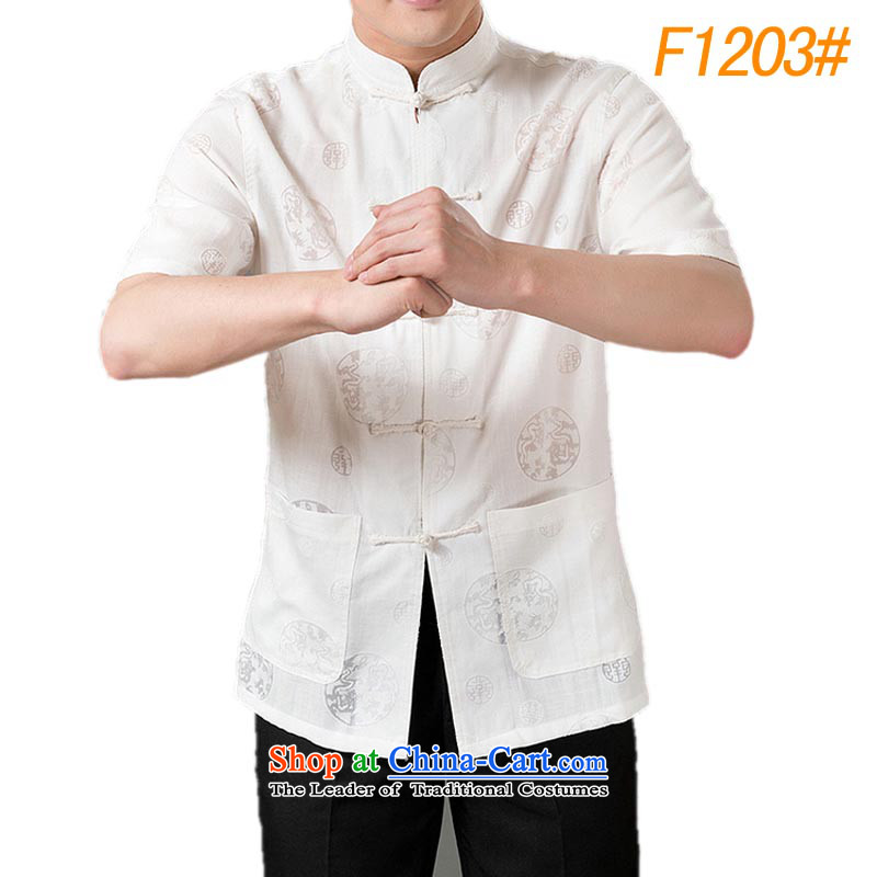 The new line of Bosnia and thre of older persons in the summer men Tang dynasty cotton linen flax Cotton Men's Han-short-sleeved blouses white L_175 Tang