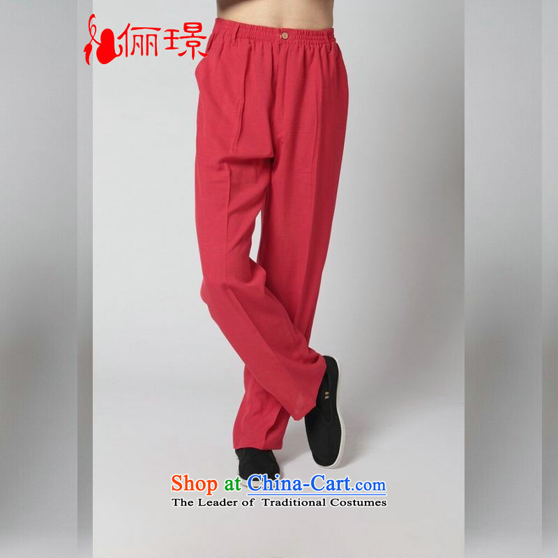 158 Jing spring and summer load Tang dynasty elastic waist men's trousers cotton linen ethnic and trousers Tang pants K2350 -12 mauve pants 3XL( recommendations 180-210 catty)