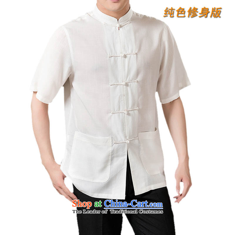 New line thre Bosnia and pure color Tang ultra cool and comfortable linen men Tang dynasty short-sleeved summer Chinese clothing XL_180 White