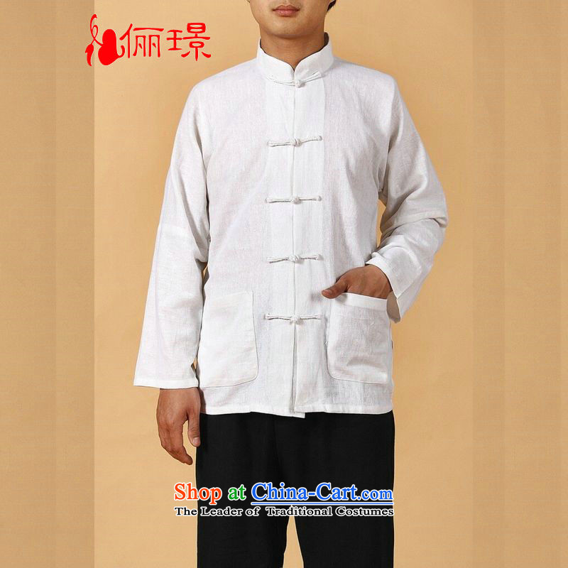 158 Jing in Tang Dynasty older men and summer collar cotton linen china wind Tang Dynasty Chinese tunic men large long-sleeved men 2341 - 1 white XXL( recommendations 160-175 catties)