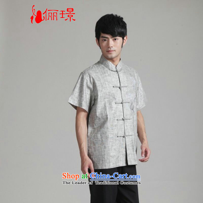 158 Jing in Tang Dynasty older men and summer collar cotton linen china wind Tang Dynasty Chinese tunic men short-sleeved larger men 2340 - 3 gray M recommendations 100-120 catties)