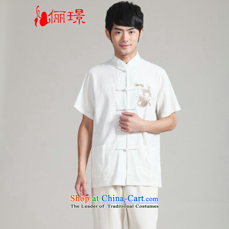 158 Jing in Tang Dynasty older men and summer cotton linen collar embroidered dragon Chinese Wind Tang Dynasty Chinese tunic men short-sleeved larger men 2999 - 3 white XL( recommendations appears at paragraphs 145-155 catty)