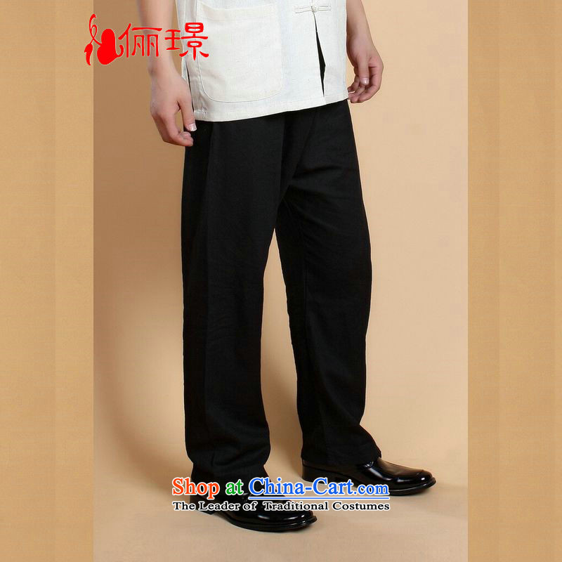 158 Jing spring and summer load Tang dynasty elastic waist men's trousers cotton linen ethnic and trousers Tang pants�20-820-001 - 5燣 _paras. 125-140 recommended the burden of black_