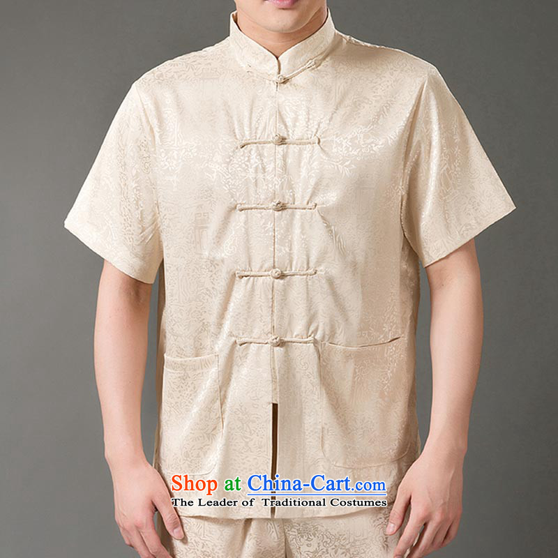 Bosnia and china wind in line thre scenery of older men short-sleeve packaged ethnic Tang dynasty short-sleeve packaged services Taegeuk jogs ball-short-sleeve kit XL_180 Beige