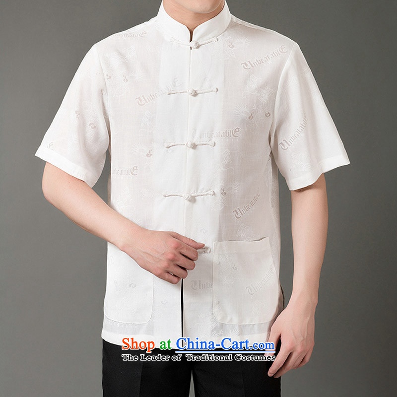 The new line of Bosnia and thre of older persons in the summer Lung Men Tang dynasty cotton linen flax Cotton Men's Han-Tang dynasty short-sleeved white燲XXL_190