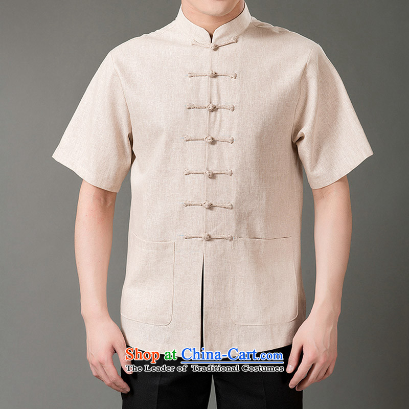 The new line of Bosnia and thre genuine male Tang Dynasty Chinese Style 7 snap in half sleeve linen older Tang dynasty short-sleeved M_170 Beige